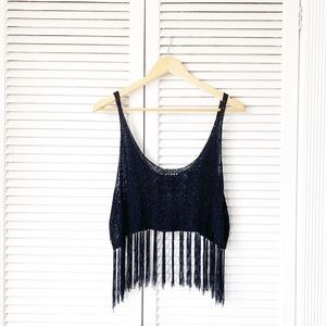 Forever 21 Black  Fringe Crochet Crop Top NWOT
